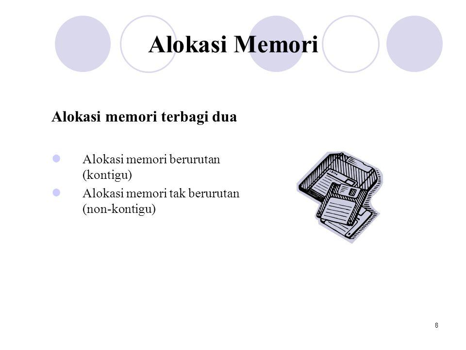 Alokasi Memori Alokasi memori terbagi dua
