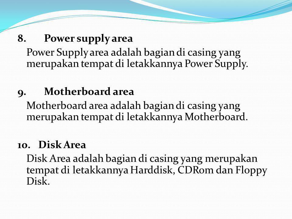 8. Power supply area Power Supply area adalah bagian di casing yang merupakan tempat di letakkannya Power Supply.