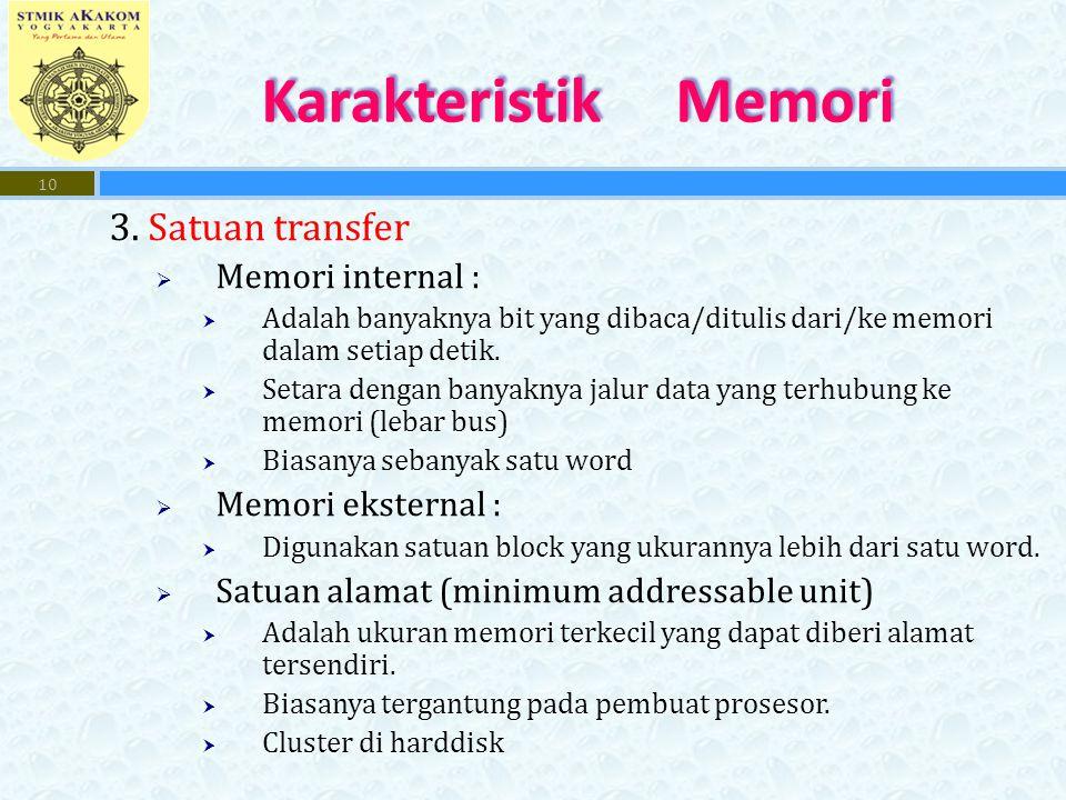 Karakteristik Memori 3. Satuan transfer Memori internal :
