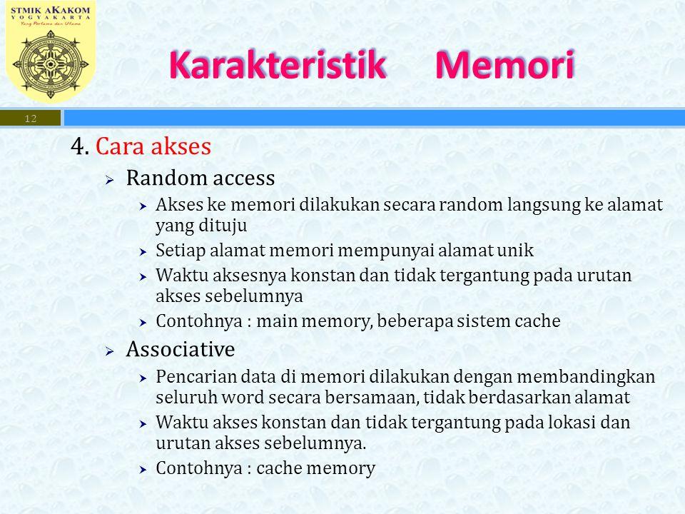 Karakteristik Memori 4. Cara akses Random access Associative