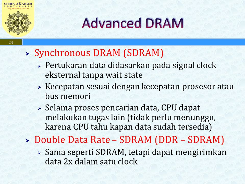 Advanced DRAM Synchronous DRAM (SDRAM)