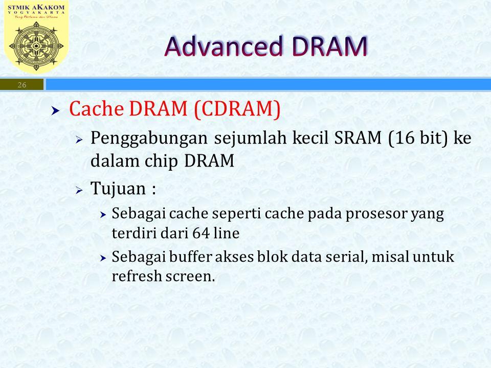 Advanced DRAM Cache DRAM (CDRAM)