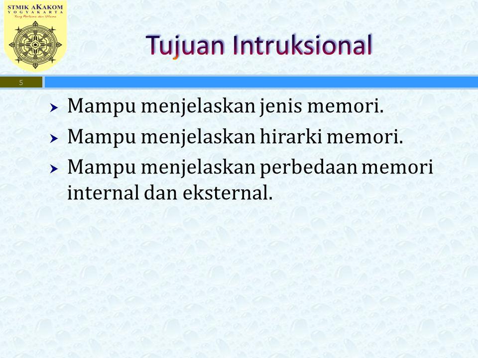 Tujuan Intruksional Mampu menjelaskan jenis memori.