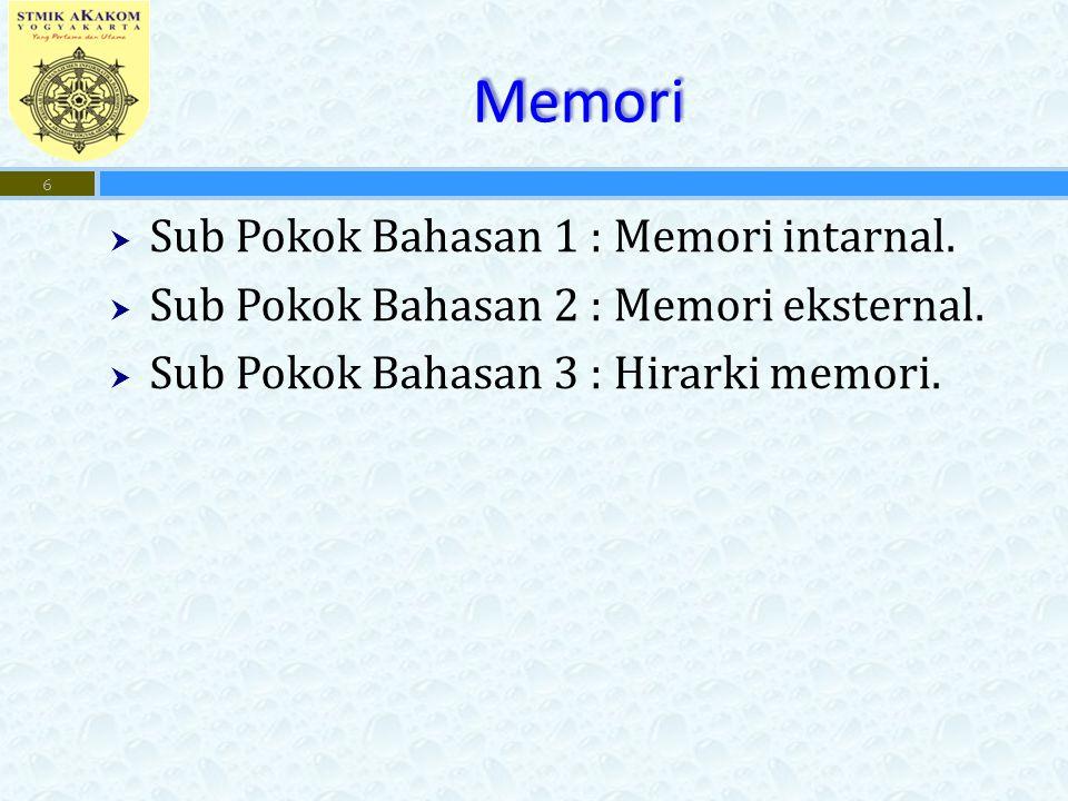 Memori Sub Pokok Bahasan 1 : Memori intarnal.