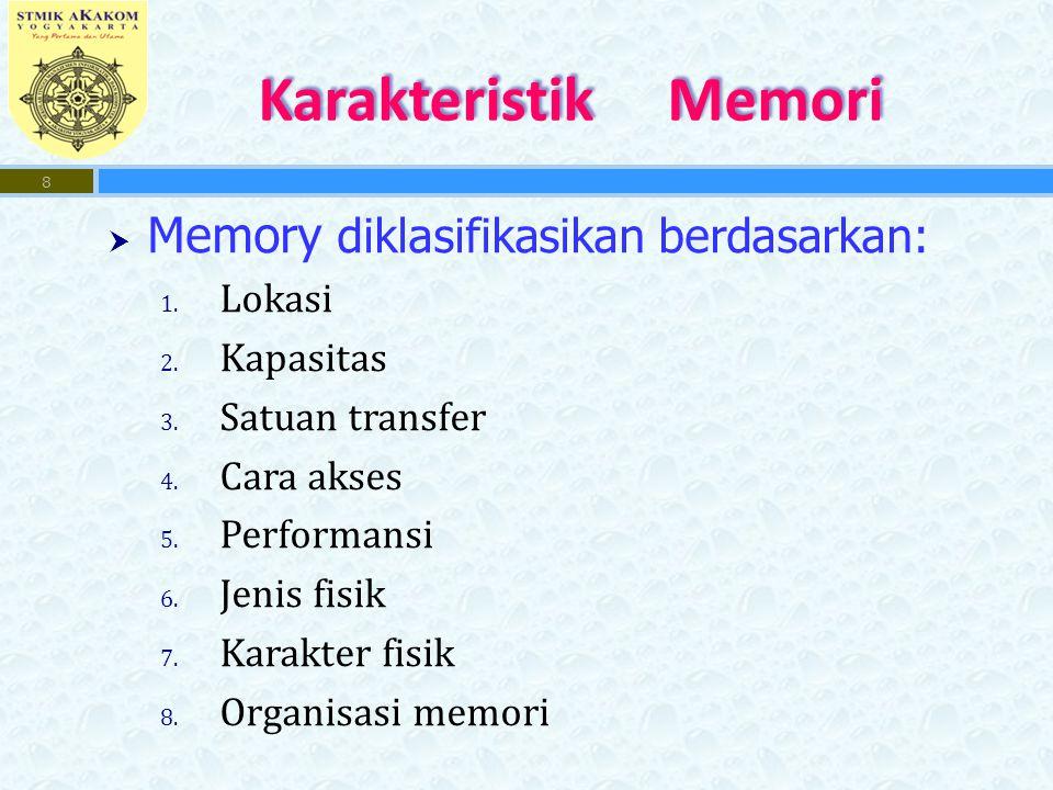 Karakteristik Memori Memory diklasifikasikan berdasarkan: Lokasi