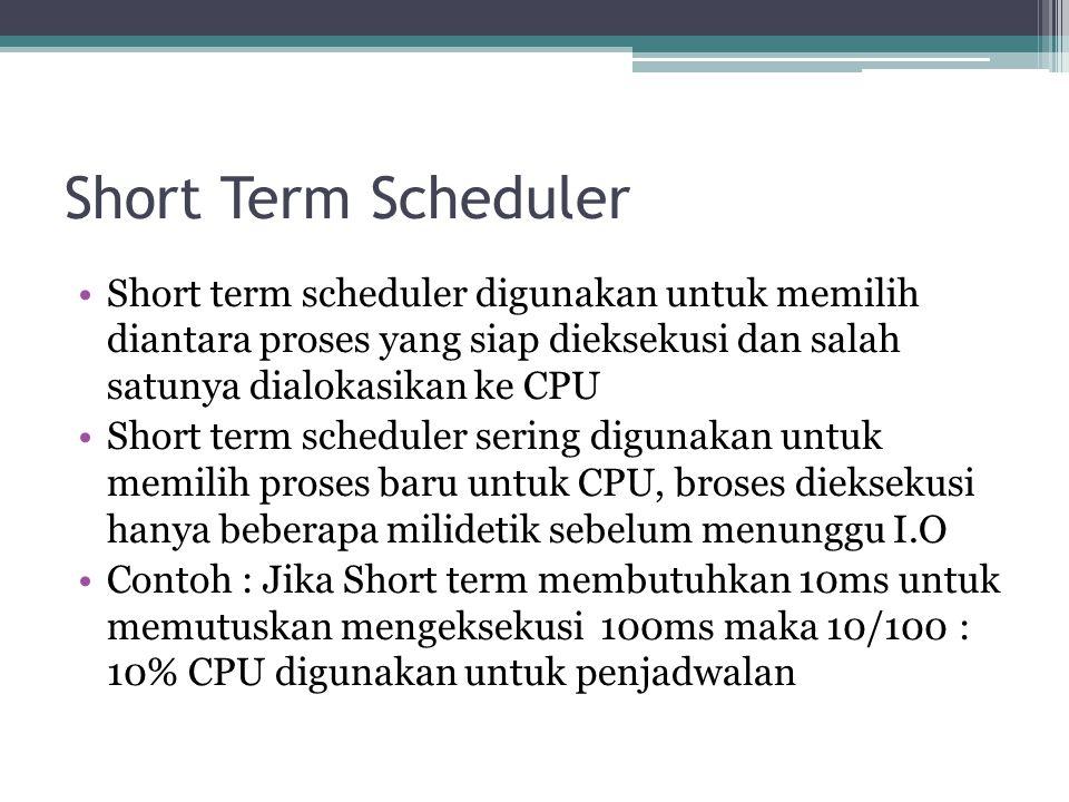 Short Term Scheduler Short term scheduler digunakan untuk memilih diantara proses yang siap dieksekusi dan salah satunya dialokasikan ke CPU.