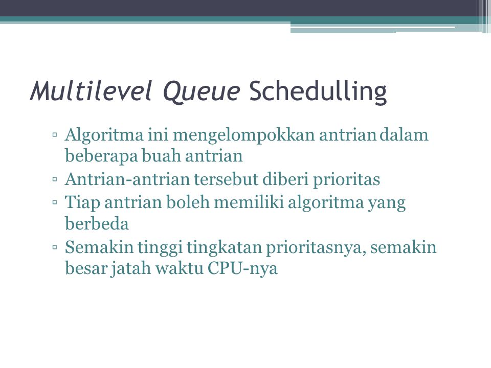 Multilevel Queue Schedulling