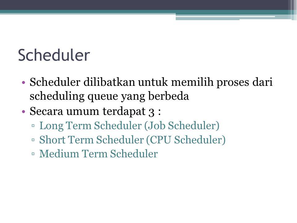 Scheduler Scheduler dilibatkan untuk memilih proses dari scheduling queue yang berbeda. Secara umum terdapat 3 :