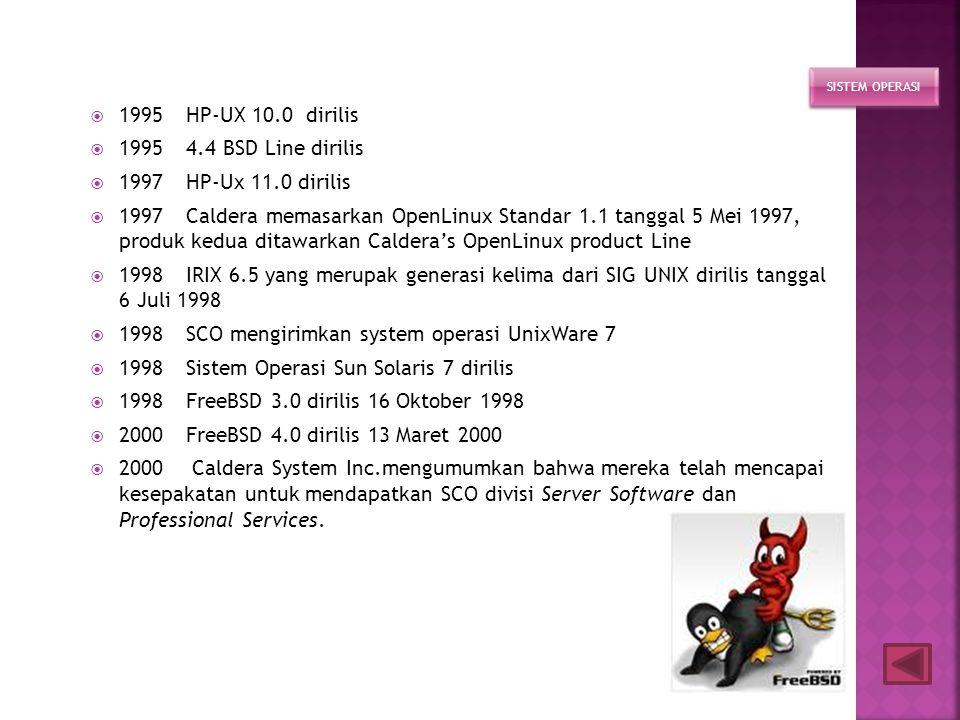 1998 SCO mengirimkan system operasi UnixWare 7