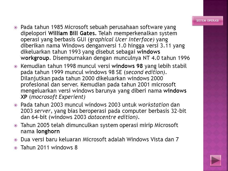 Dua versi baru keluaran Microsoft adalah Windows Vista dan 7
