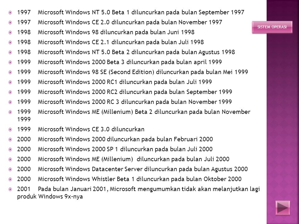 1997 Microsoft Windows CE 2.0 diluncurkan pada bulan November 1997