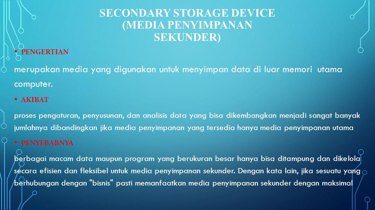 Secondary Storage Device (Media Penyimpanan Sekunder)
