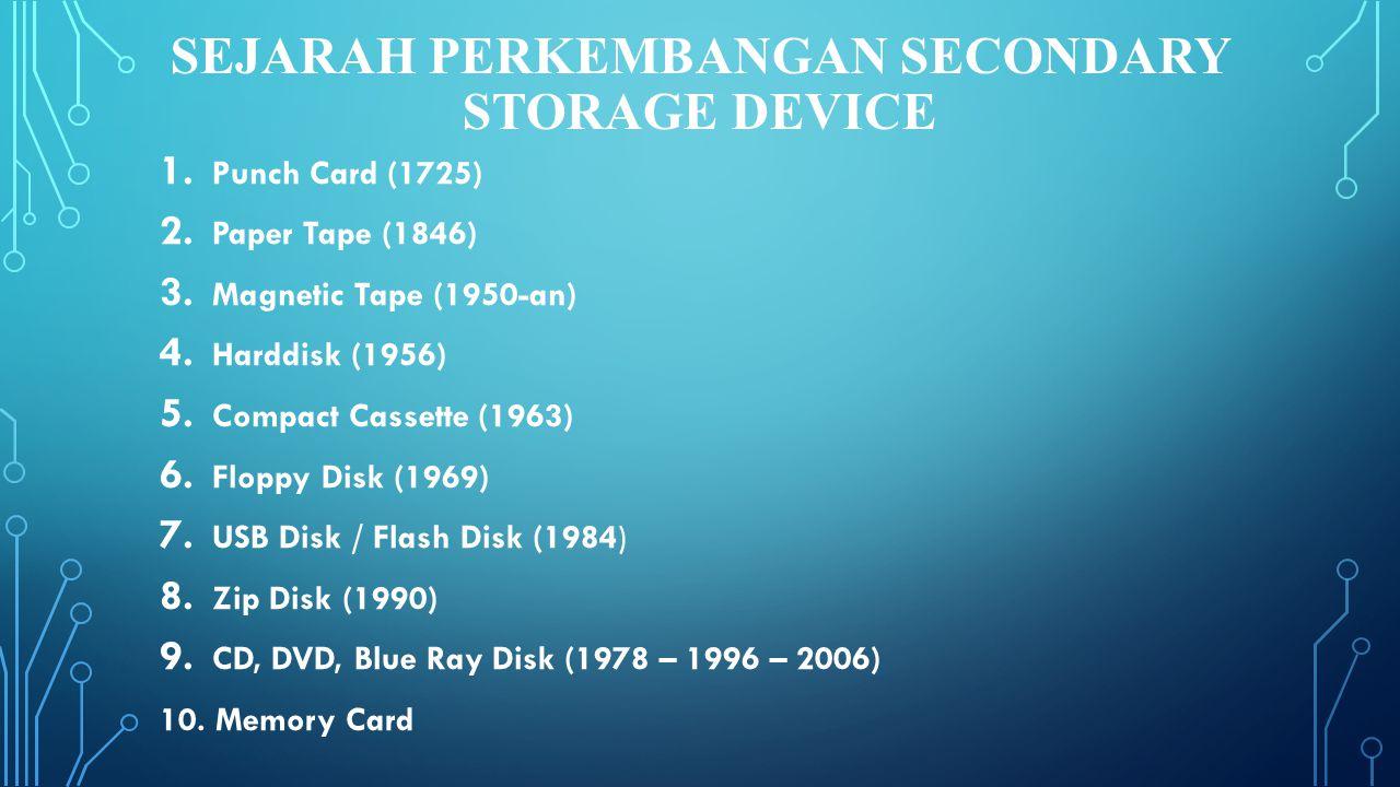 SEJARAH PERKEMBANGAN Secondary Storage Device