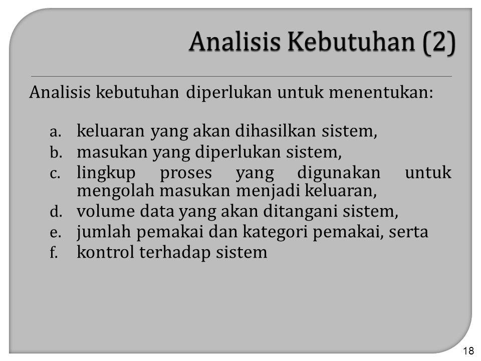 Analisis Kebutuhan (2) Analisis kebutuhan diperlukan untuk menentukan: