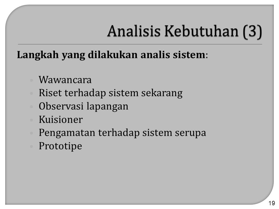 Analisis Kebutuhan (3) Langkah yang dilakukan analis sistem: Wawancara
