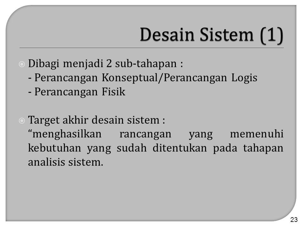 Desain Sistem (1) Dibagi menjadi 2 sub-tahapan :