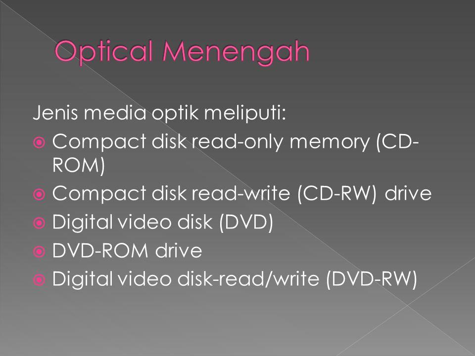Optical Menengah Jenis media optik meliputi: