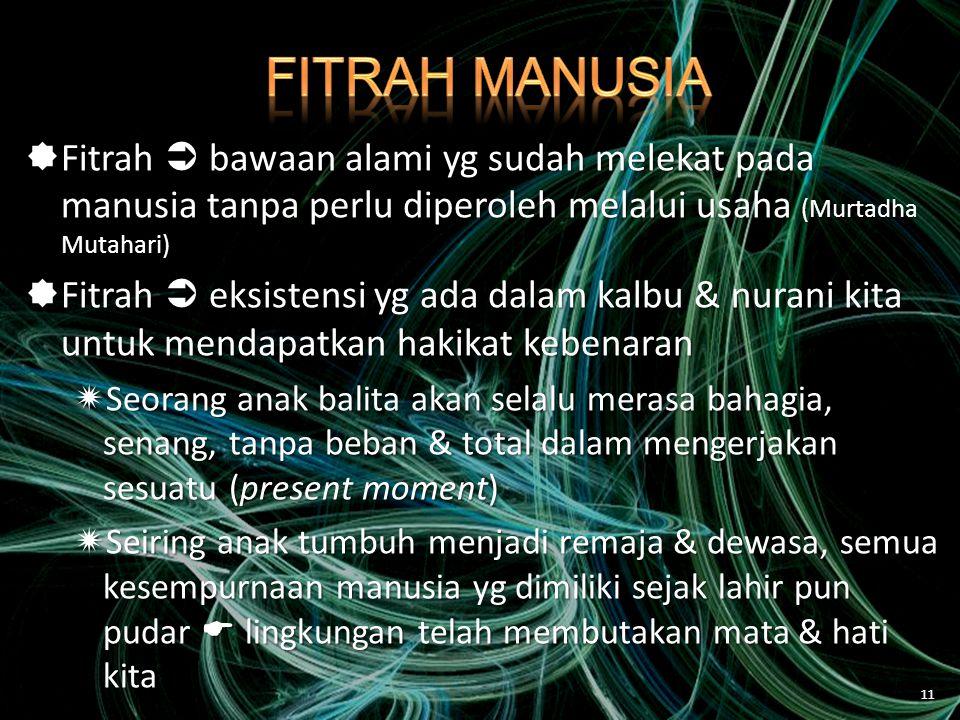 FITRAH MANUSIA Fitrah  bawaan alami yg sudah melekat pada manusia tanpa perlu diperoleh melalui usaha (Murtadha Mutahari)