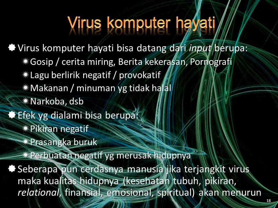 Virus komputer hayati Virus komputer hayati bisa datang dari input berupa: Gosip / cerita miring, Berita kekerasan, Pornografi.