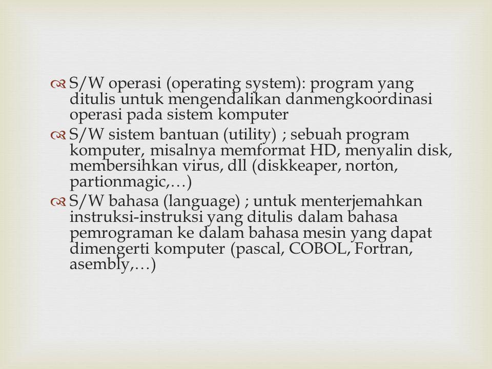 S/W operasi (operating system): program yang ditulis untuk mengendalikan danmengkoordinasi operasi pada sistem komputer