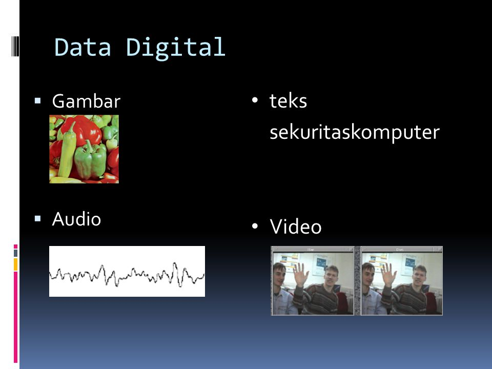 Data Digital Gambar Audio teks sekuritaskomputer Video