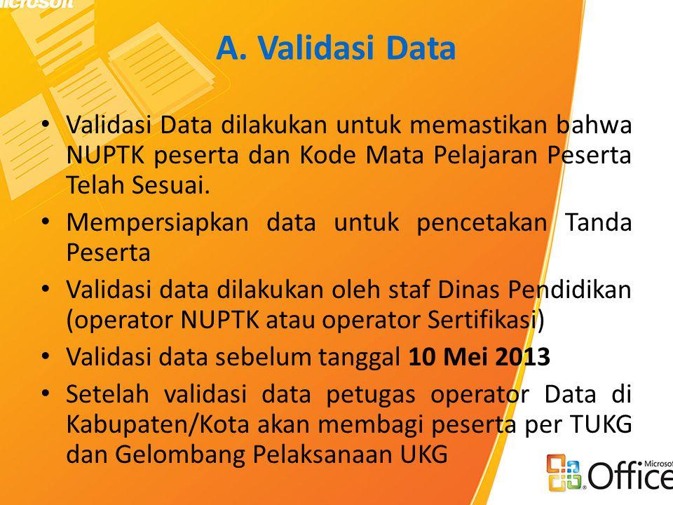A. Validasi Data Validasi Data dilakukan untuk memastikan bahwa NUPTK peserta dan Kode Mata Pelajaran Peserta Telah Sesuai.
