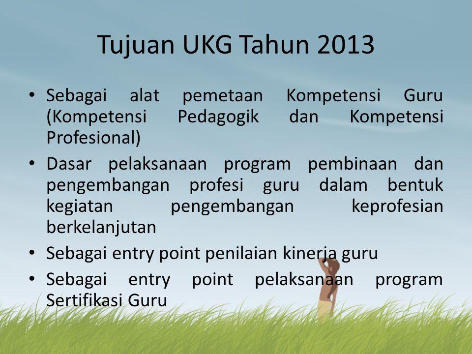 Tujuan UKG Tahun 2013 Sebagai alat pemetaan Kompetensi Guru (Kompetensi Pedagogik dan Kompetensi Profesional)