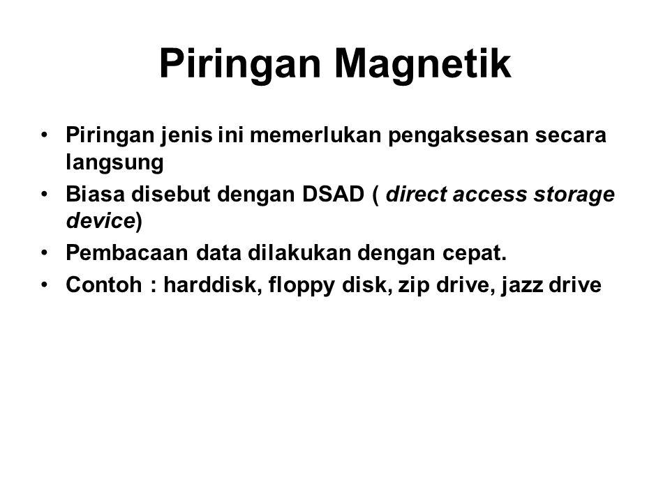 Piringan Magnetik Piringan jenis ini memerlukan pengaksesan secara langsung. Biasa disebut dengan DSAD ( direct access storage device)