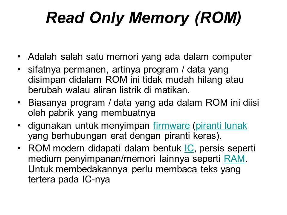 Read Only Memory (ROM) Adalah salah satu memori yang ada dalam computer.