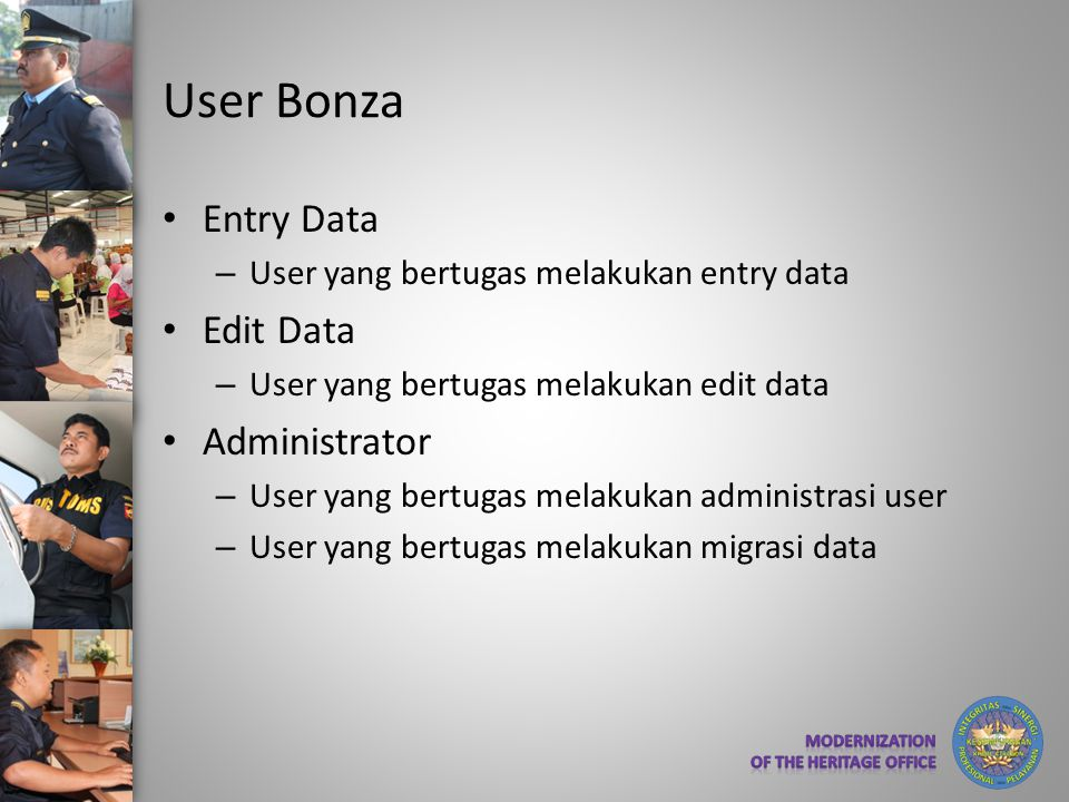 User Bonza Entry Data Edit Data Administrator