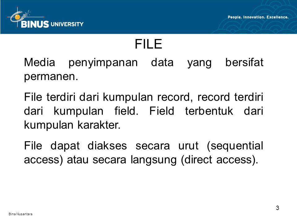 FILE Media penyimpanan data yang bersifat permanen.