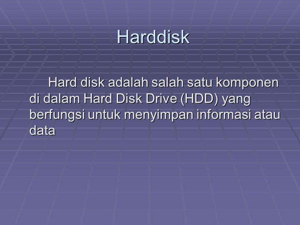 Harddisk Hard disk adalah salah satu komponen di dalam Hard Disk Drive (HDD) yang berfungsi untuk menyimpan informasi atau data.