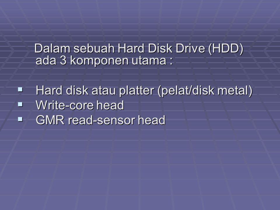 Hard disk atau platter (pelat/disk metal) Write-core head