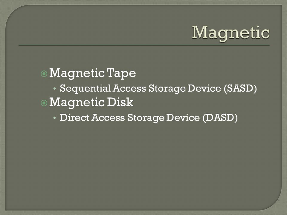 Magnetic Magnetic Tape Magnetic Disk