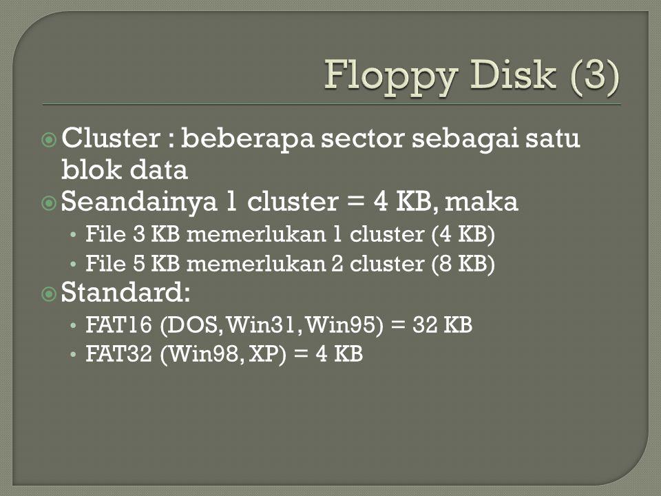 Floppy Disk (3) Cluster : beberapa sector sebagai satu blok data