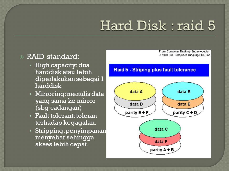 Hard Disk : raid 5 RAID standard: