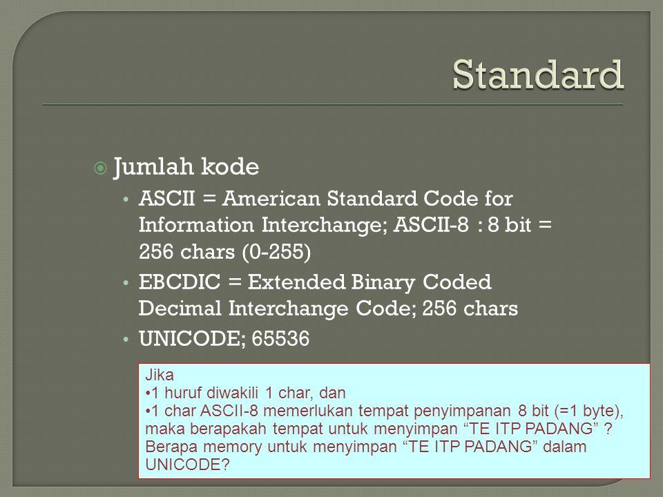 Standard Jumlah kode. ASCII = American Standard Code for Information Interchange; ASCII-8 : 8 bit = 256 chars (0-255)