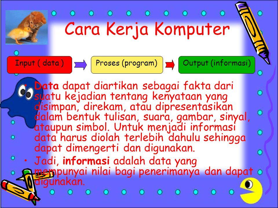 Cara Kerja Komputer Input ( data ) Proses (program) Output (informasi)