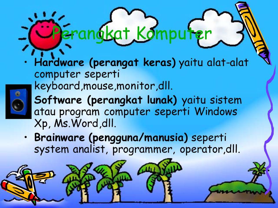 Perangkat Komputer Hardware (perangat keras) yaitu alat-alat computer seperti keyboard,mouse,monitor,dll.