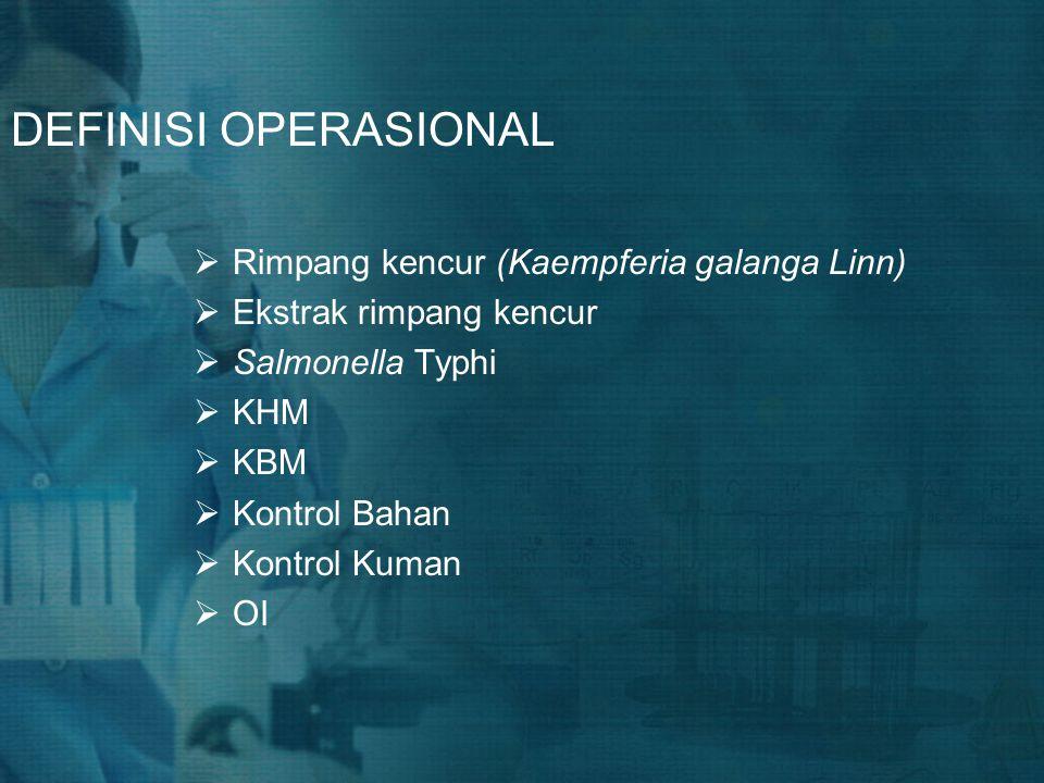 DEFINISI OPERASIONAL Rimpang kencur (Kaempferia galanga Linn)