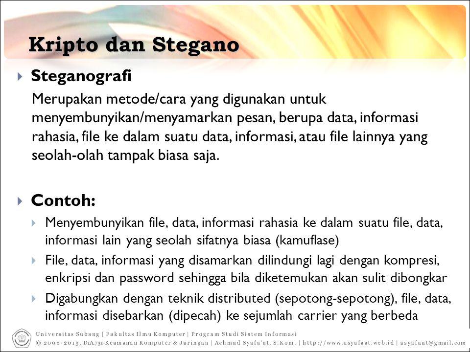 Kripto dan Stegano Steganografi Contoh:
