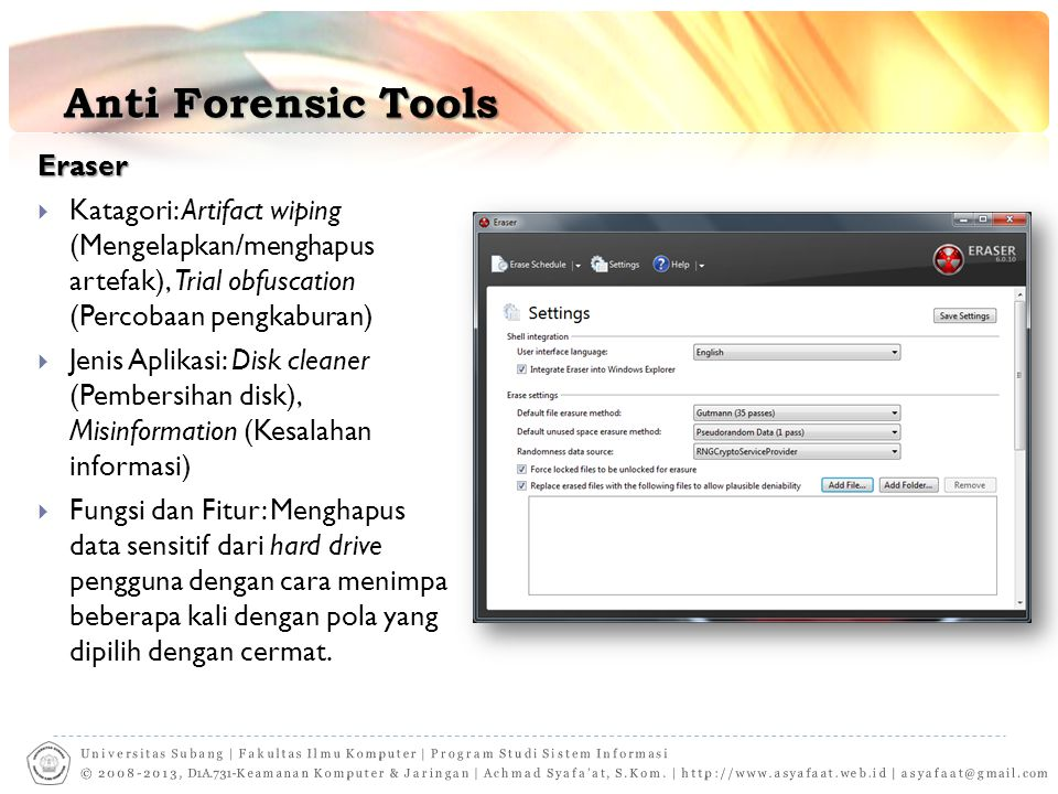 Anti Forensic Tools Eraser