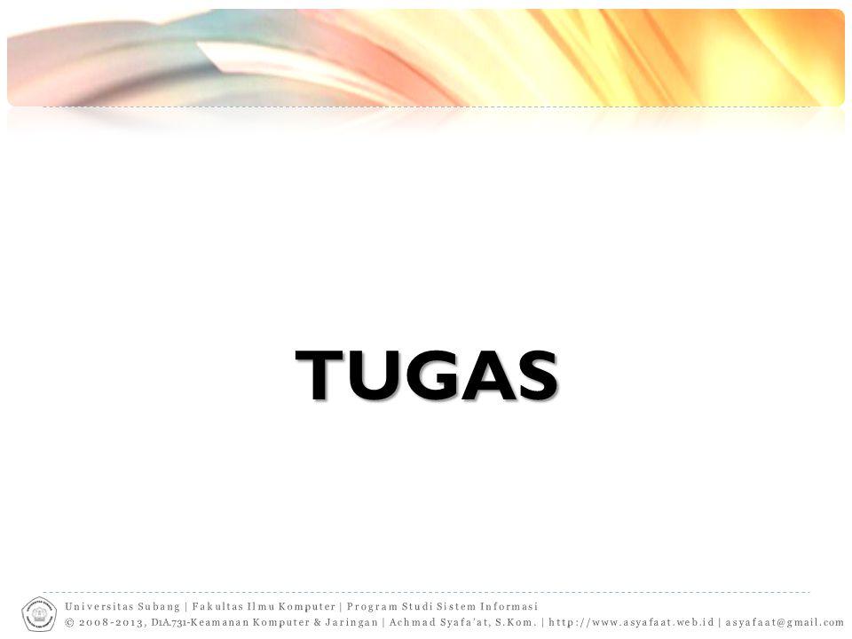 TUGAS Universitas Subang | Fakultas Ilmu Komputer | Program Studi Sistem Informasi.