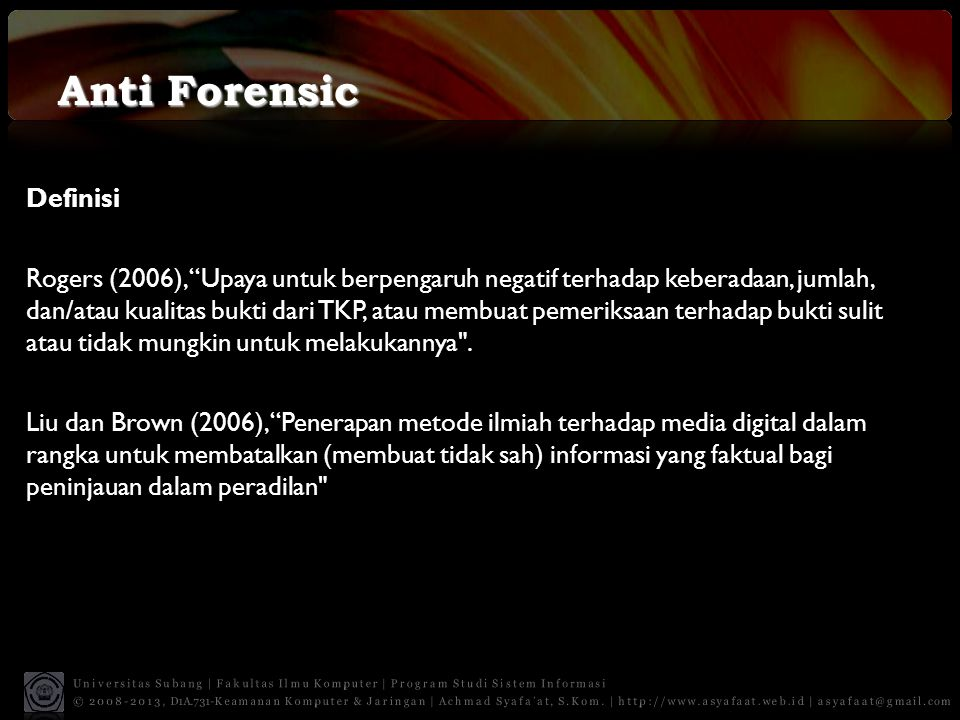 Anti Forensic