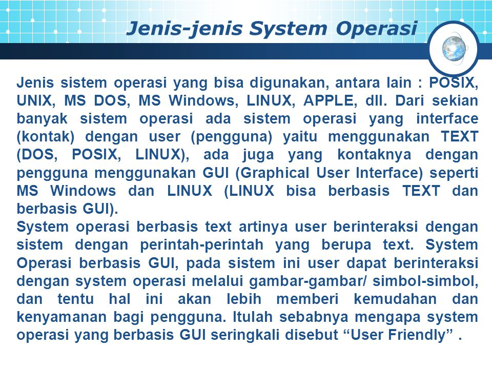 Jenis-jenis System Operasi