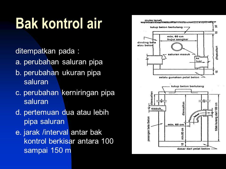 Bak kontrol air ditempatkan pada : a. perubahan saluran pipa