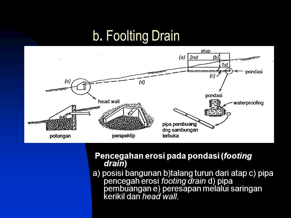 b. Foolting Drain Pencegahan erosi pada pondasi (footing drain)