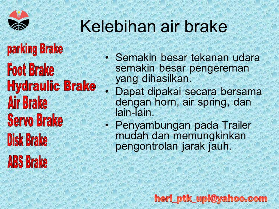 Kelebihan air brake Semakin besar tekanan udara semakin besar pengereman yang dihasilkan.
