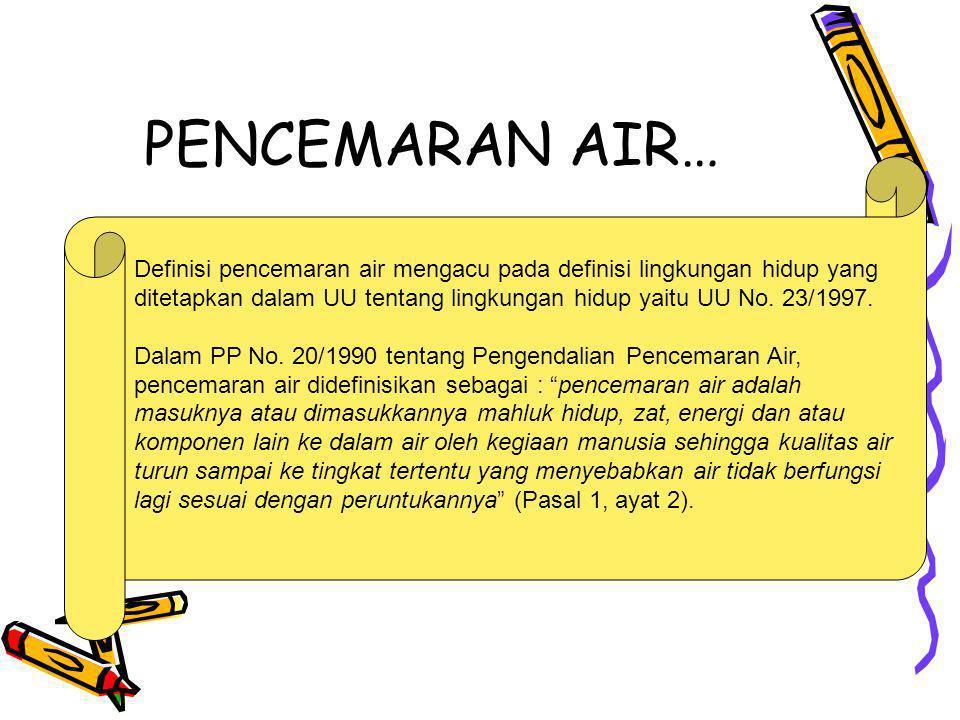 PENCEMARAN AIR… Definisi pencemaran air mengacu pada definisi lingkungan hidup yang.