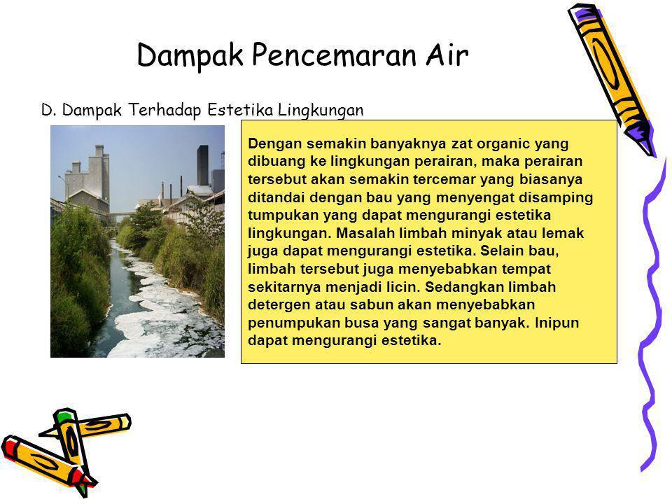 Dampak Pencemaran Air D. Dampak Terhadap Estetika Lingkungan